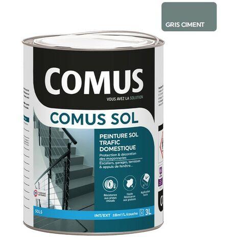 COMUS SOL GRIS CIMENT 3L Peinture de protection et décoration pour sols intérieurs et extérieurs, trafic domestique - COMUS