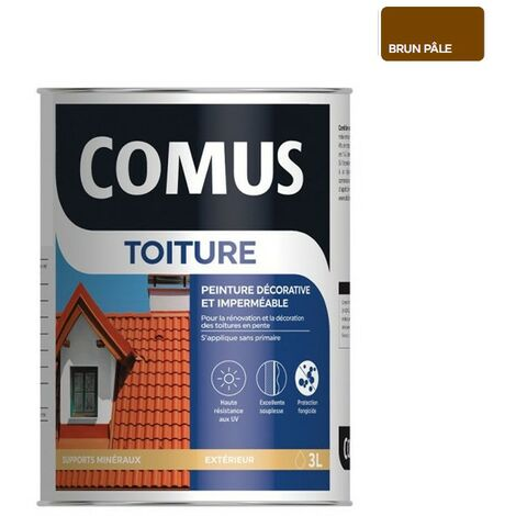 COMUS TOITURE - Brun pâle 3L - Peinture décorative imperméable pour la rénovation des toitures - COMUS