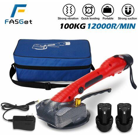 Con 1/2 bateríaMáquina de pavimentación de baldosas de mano de 1000 W, instalación de baldosas de 80x80 cm, niveladora inteligente de pisos por vibración (rojo, enchufe de la UE)