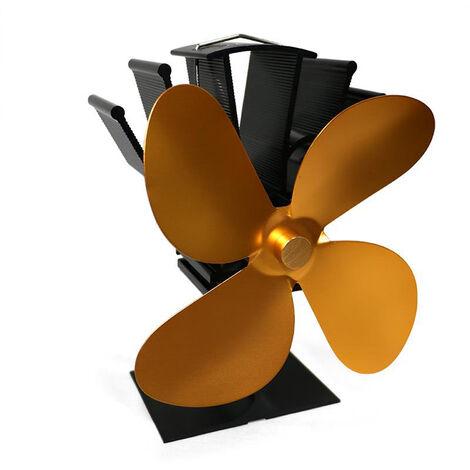 Con tecnologia de 4 paletas del ventilador de calor estufas chimenea de lena casa eficiente de distribucion de calor del ventilador, Oro