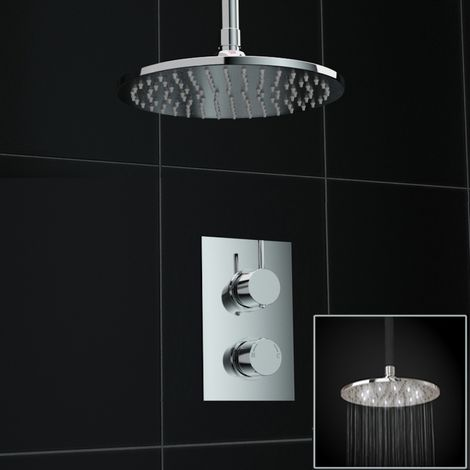 Concealed 1way Round Ceiling Mounted 200mm White Led Thermostatic Mixer Shower