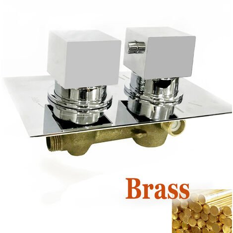 Concealed 2 dial 2 way Chrome Thermostatic Shower Mixer Valve Solid Brass WRAS