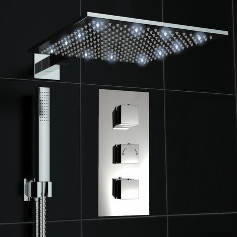 Concealed 2 Way Cube White Led Square 300mm Thermostatic Mixer Shower Handheld