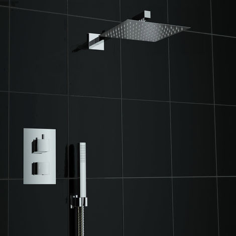 Concealed 2 Way Div Square 200mm Thermostatic Mixer Shower + Handheld