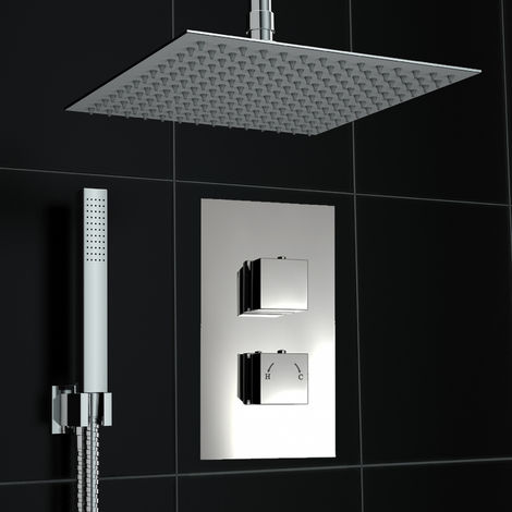 Concealed 2 Way Square Diverter Ceiling 300mm Thermostatic Shower Kit