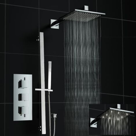 Concealed 2 Way Square Mixer Wall 200mm White Led Thermostatic Shower