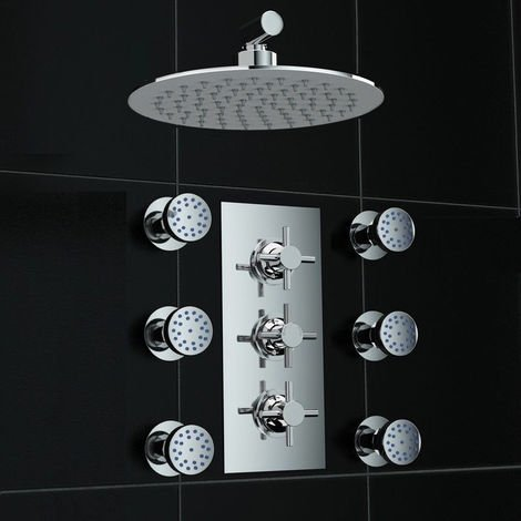 Concealed 2 Way Wall Mounted 200mm Thermostatic Shower + Massage Jets
