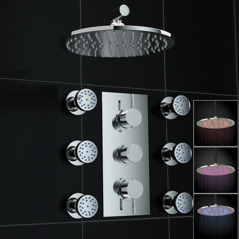 Concealed 2way Led Wall Mounted 200mm Thermostatic Mixer Shower + Jets