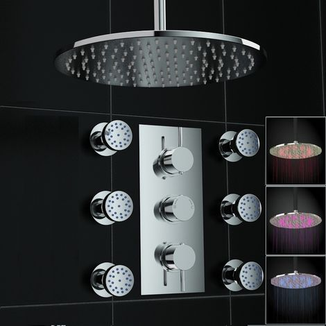 Concealed 2way Round Led Ceiling 300mm Thermostatic Mixer Shower+ Jets