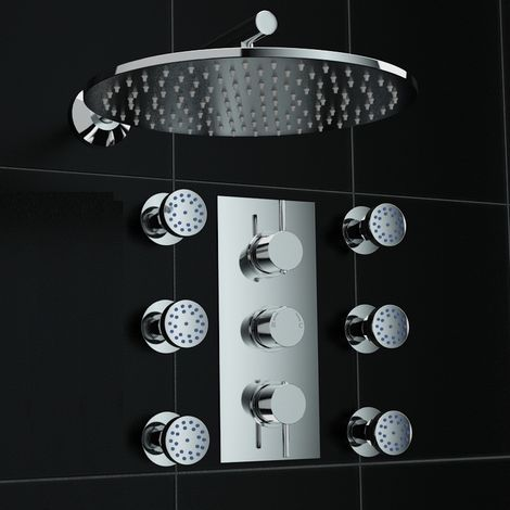 Concealed 2way Round Wall Mounted 300mm Thermostatic Shower Kit + Jets