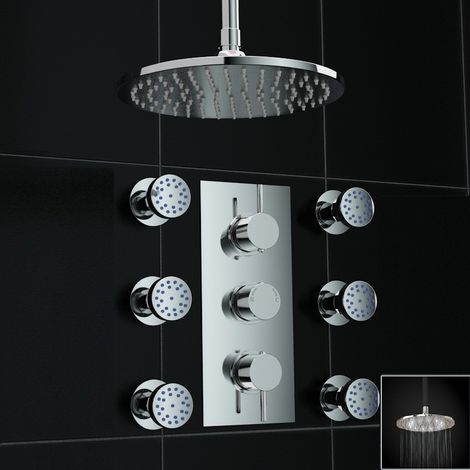 Concealed 2way Round White Led Ceiling 200mm Thermostatic Mixer Shower