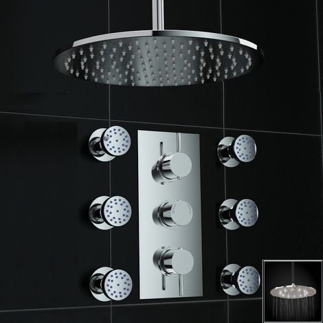 Concealed 2way Round White Led Ceiling 300mm Thermostatic Shower+ Jets