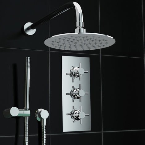 Concealed 2way Wall Mounted 200mm Thermostatic Mixer Shower + Handheld