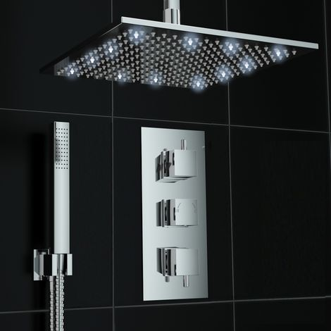 Concealed 2way White Led Square 300mm Thermostatic Mixer Shower