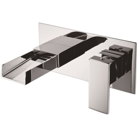 Concealed Basin Mixer Waterfall Tap Single Lever Modern Chrome Wall Mounted