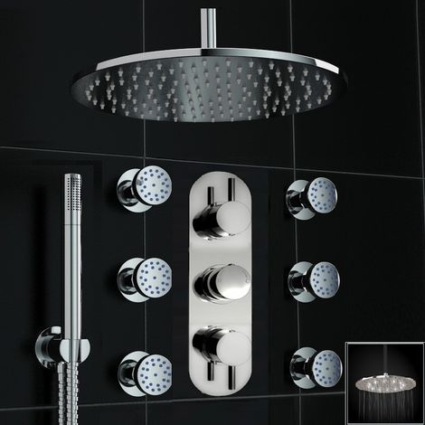 Concealed Chrome Thermostatic Mixer Shower Ceiling 300mm White Led Body Jet Set