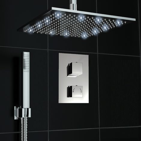 Concealed Diverter Thermostatic Mixer Shower Valve Ceiling 300mm Led