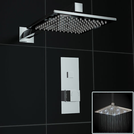 Concealed Push Button 1 way Square White LED 200mm Thermostatic Mixer Shower Kit
