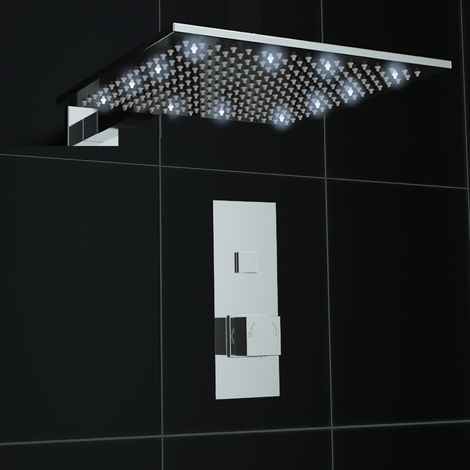 Concealed Push Button 1 way Square White LED 300mm Thermostatic Mixer Shower Kit