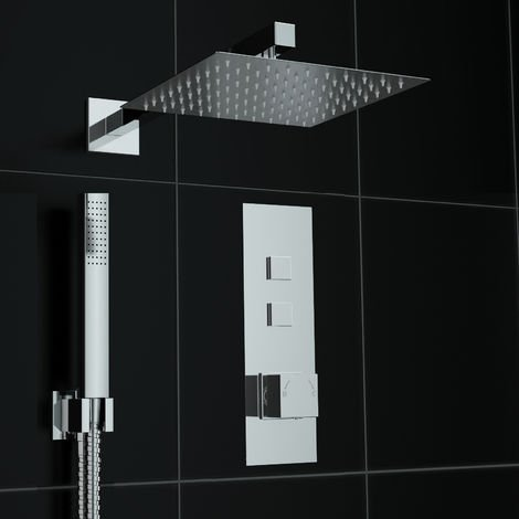 Concealed Push Button 2 way Square 200mm Thermostatic Mixer Shower Kit