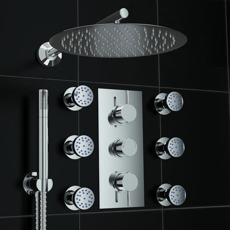 Concealed Round Thermostatic Mixer Shower Mirror Body Jet Set 300mm