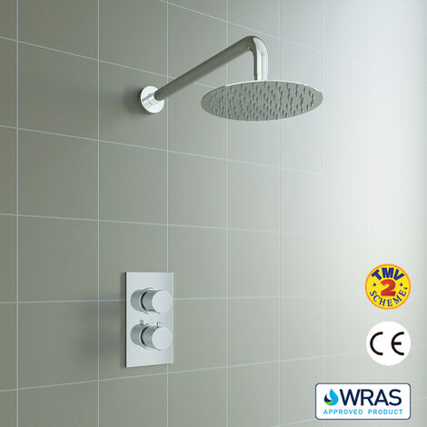 Concealed Round Thermostatic Shower Mixer Chrome Bathroom Twin Head Valve Set