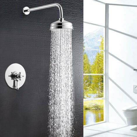 Concealed Shower Mixer Thermostatic Valve Kit Chrome Head with Rail Bathroom Set