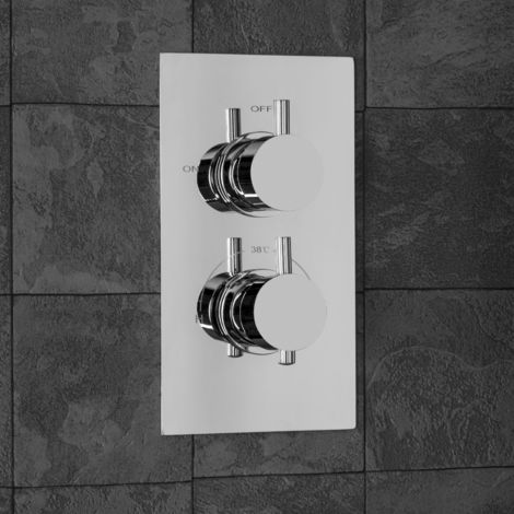 Concealed Shower Valve Thermostatic 1 Outlet Chrome Dual Control