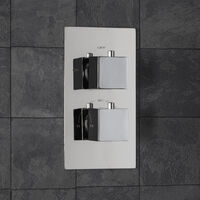 Concealed Shower Valve Thermostatic Square Controls Chrome