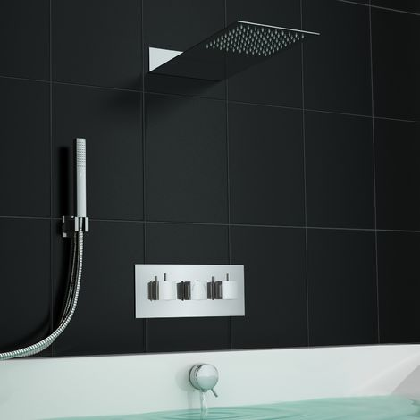 Concealed Square Centrafill Thermostatic Mixer Bath Shower Slimline