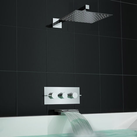 Concealed Square Thermostatic Bath Filler Shower Mixer Set