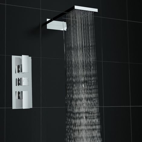 Concealed Square Thermostatic Mixer Shower Valve Tap Waterfall Set