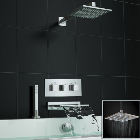 Concealed Square Waterfall Led Thermostatic Mixer Bath Shower Tap Kit
