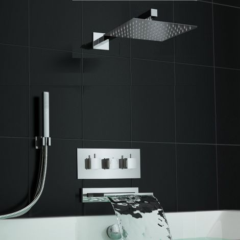 Concealed Square Waterfall Thermostatic Bath Shower Mixer Set
