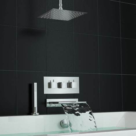 Concealed Square Waterfall Thermostatic Mixer Bath Shower Ceiling Set