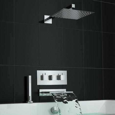 Concealed Square Waterfall Thermostatic Mixer Bath Shower Set