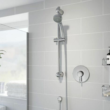 Concealed Stick Shower Concentric Wall Mounted Adjustable Head Chrome Handset