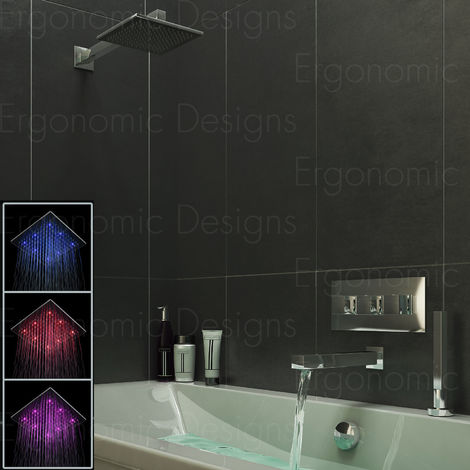 Concealed Thermostatic Bath Mixer Tap Bath Filler And Deck Handheld Shower Led