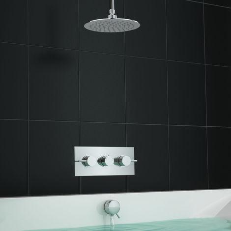 Concealed Thermostatic Bath Overflow Filler Shower Mixer Ceiling Set