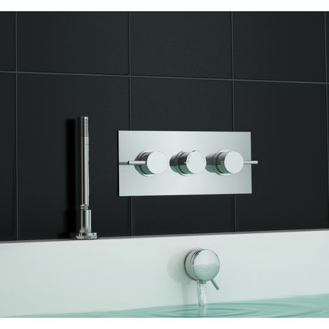 Concealed Thermostatic Bath Shower Mixer Tap Bath Filler + Deck Shower