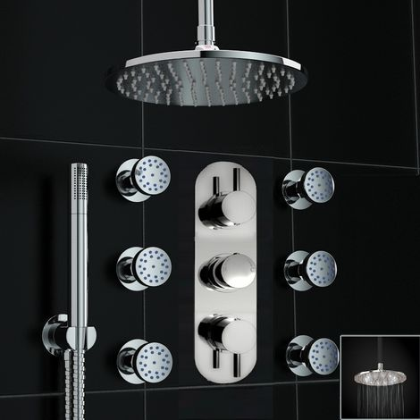 Concealed Thermostatic Ceiling Valve Shower Massage Body Jets Led Set