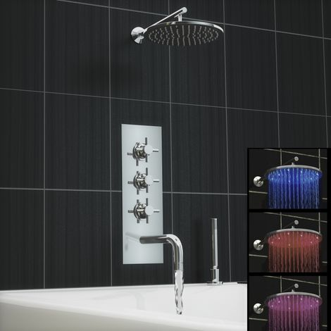 Concealed Thermostatic Led Shower Mixer Bath Wall Tap Deck Kit