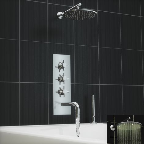 Concealed Thermostatic Led Shower Mixer Bath Wall Tap Deck Set