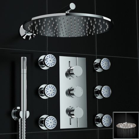 Concealed Thermostatic Mixer Shower 300mm Body Jet White Led Set