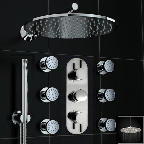 Concealed Thermostatic Mixer Shower 300mm Led Head Body Jet Set