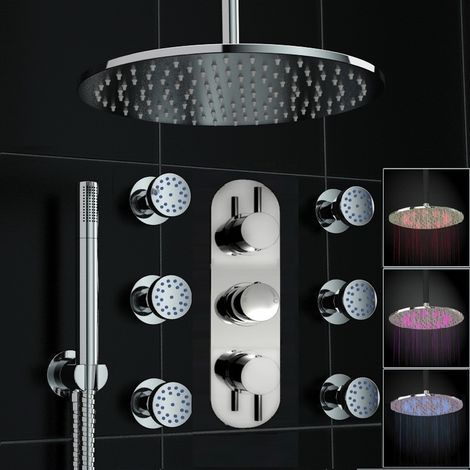 Concealed Thermostatic Mixer Shower Ceiling 300mm Led Head Bodyjet Set