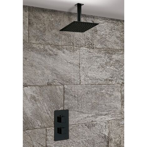 Concealed Thermostatic Mixer Shower Ceiling Mounted 200mm Head Bathroom Black