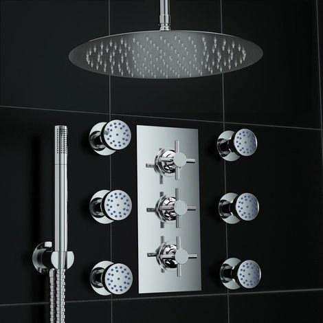 Concealed Thermostatic Mixer Shower Mirror Massage Set 300mm