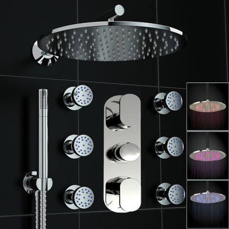 Concealed Thermostatic Mixer Shower Round 300mm Led Body Jet Set Brass Chromed