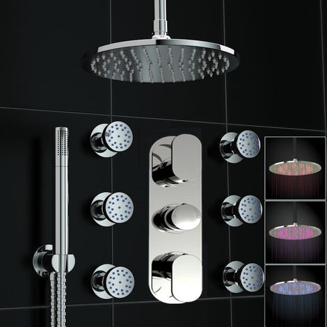 Concealed Thermostatic Mixer Shower Round Body Jet Set Led